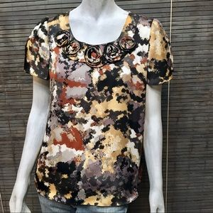 NY Collection Black Gold Marbled Rosettes Top